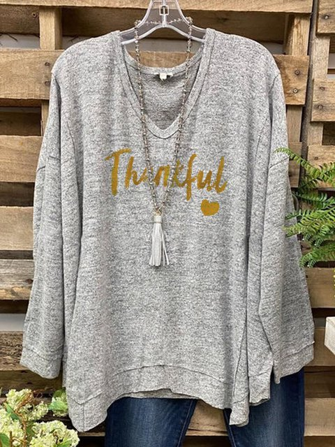 V-neck loose print Thanksgiving casual and comfortable long-sleeved top
