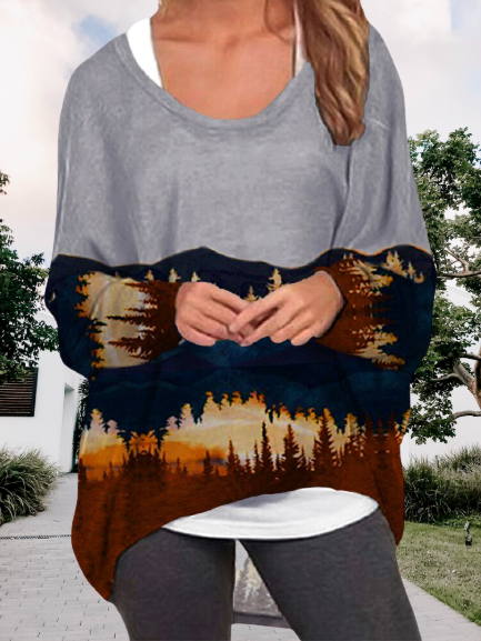 Forest Print V Neck Long Sleeve Shirts & Tops