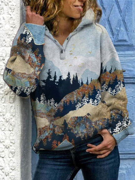 Forest Print Long Sleeve Casual Cotton-Blend Hoodie Sweatshirt