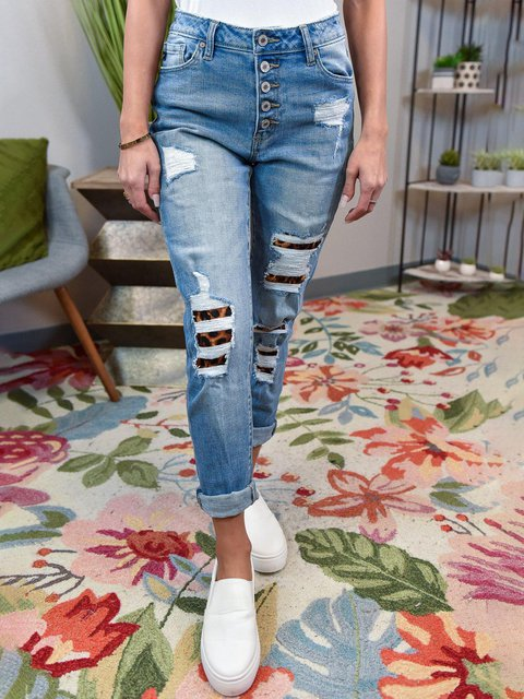 BUTTON DOWN LEOPARD PATCH SKINNY JEANS