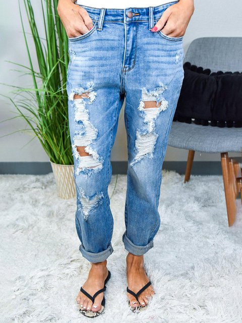 BLUE DESTROYED HOLES RELAXED JEANS