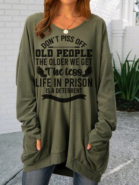 Old People Green Crew Neck Printed Vintage Shirts & Tops