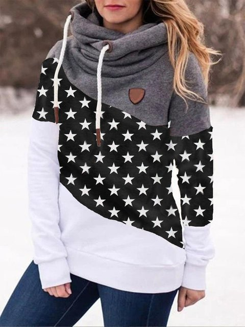 Black Color-Block Casual Star Sweatshirt