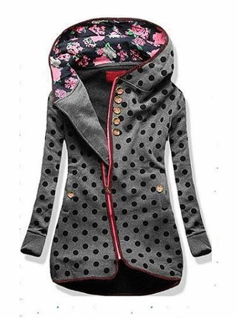 Black-Grey Hoodie Floral Long Sleeve Shift Outerwear
