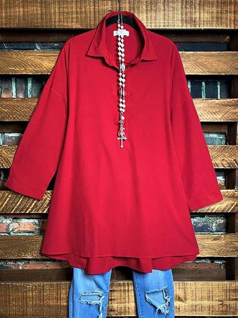 Cotton-Blend Shirt Collar Long Sleeve Shirts Tunic