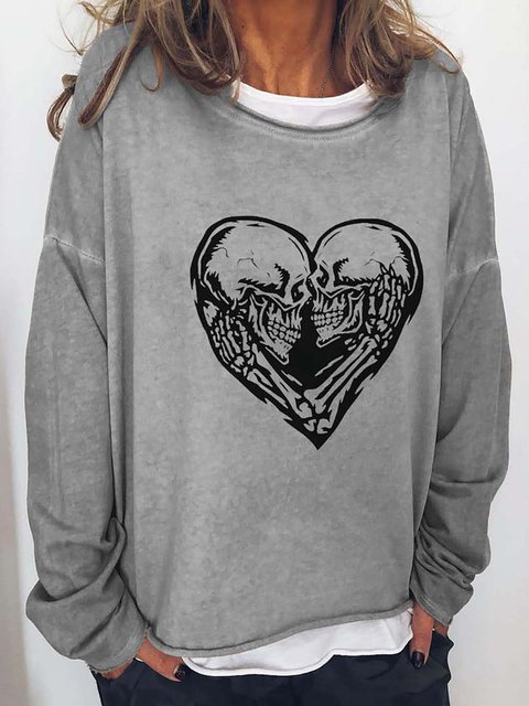 Skull Heart Print Round Neck Casual T-shirt