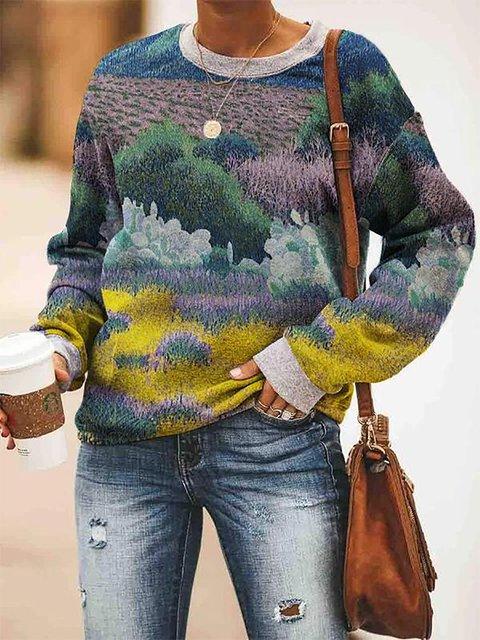 Flower Field Print Casual Round Neck Sweatshirt