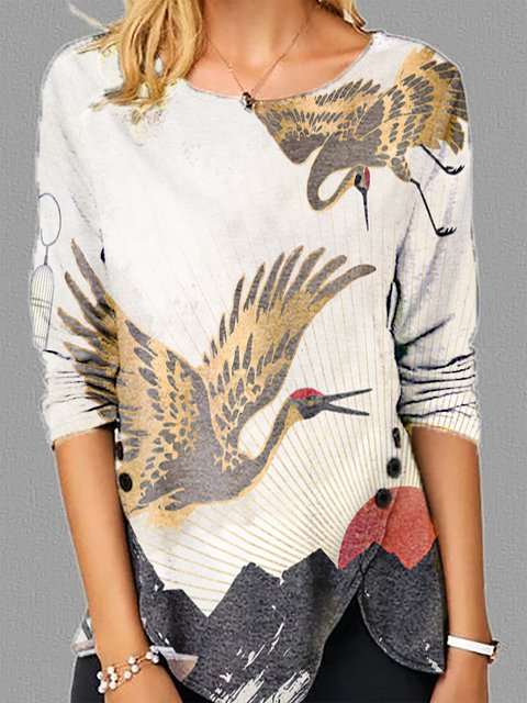 White Crew Neck Floral-Print Evening Shirts & Tops
