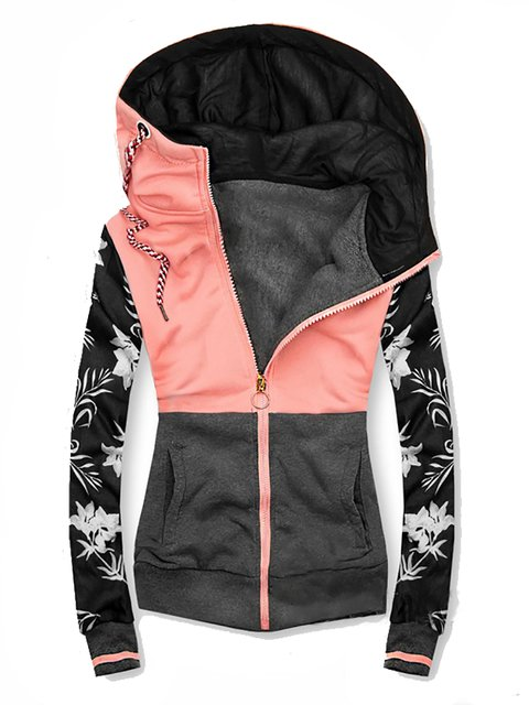 Hoodie Color-Block Floral Casual Outerwear