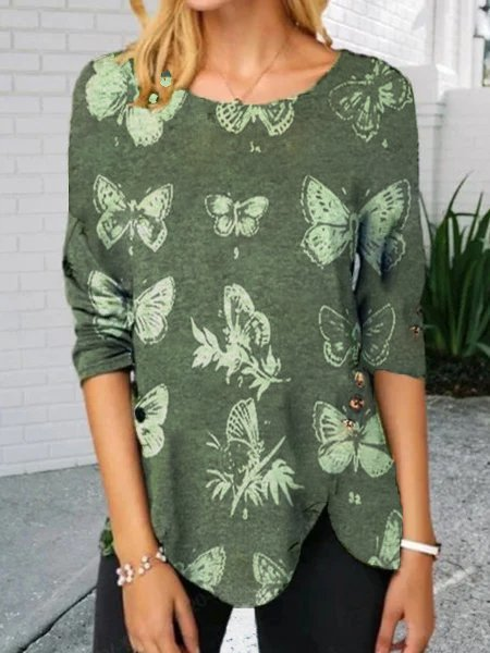 Photo Color Casual Long Sleeve Abstract Shift Shirts & Tops With Necklace