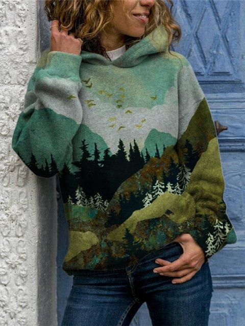 Ladies Mountain Treetop Print Hooded Sweatshirt