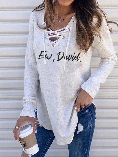 Light Gray Long Sleeve V Neck Casual Shirts & Tops