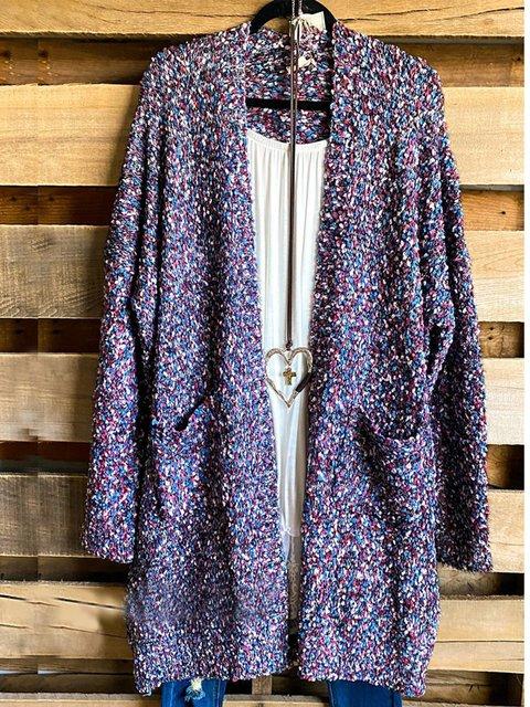 Multicolor Casual Cotton-Blend Ombre/tie-Dye Shift Outerwear