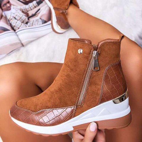 Artificial Leather Block Heel All Season Sneakers