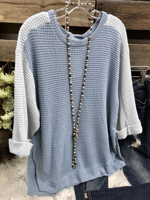 Blue Long Sleeve Cotton-Blend Round Neck Sweater
