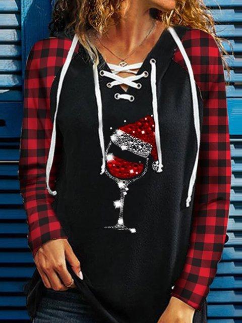 Black Casual V Neck Long Sleeve Sweatshirt