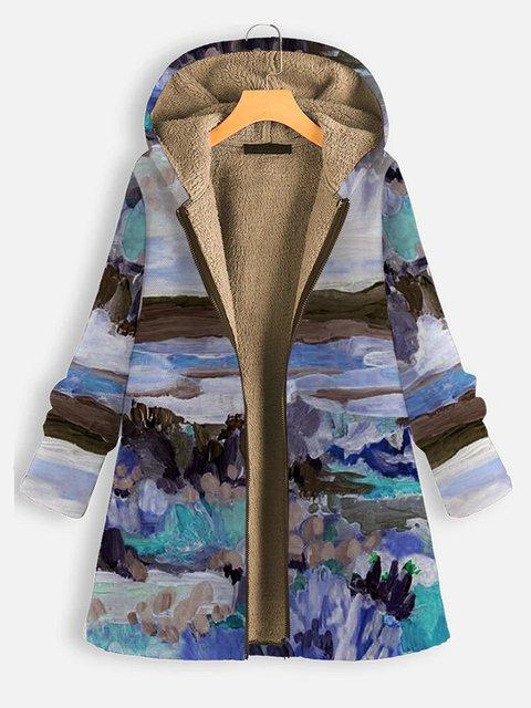 Casual Printed Long Sleeve Hoodie Plush Coat