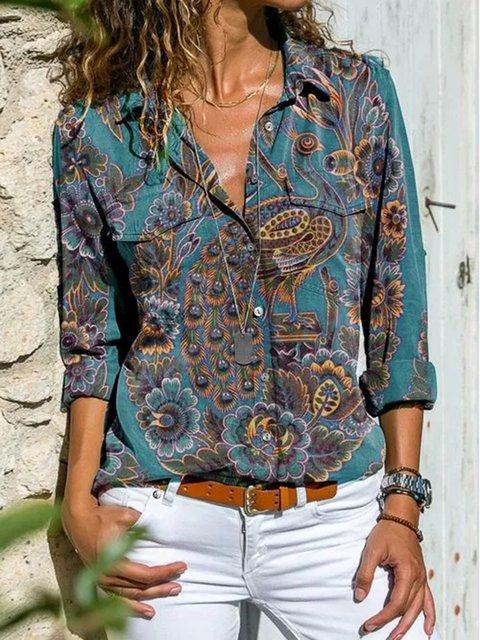 Green Long Sleeve Floral-Print Shirts & Tops