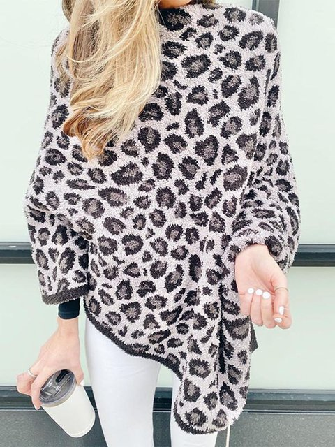 Irregular Leopard Print Base Shirt With Contrasting Color Crew-Neck Hoodie