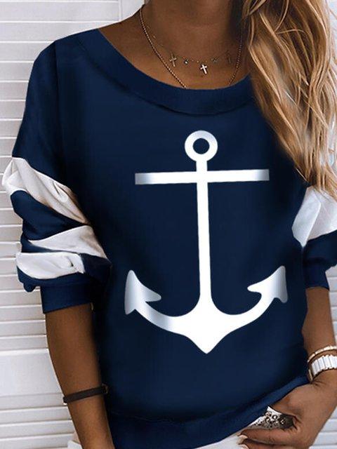 Navy Blue Crew Neck Casual Cotton-Blend Sweatshirt