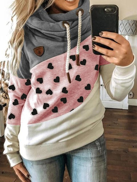 Pink Printed Cotton-Blend Casual Sweatshirt