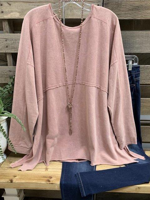 Pink Crew Neck Cotton-Blend Long Sleeve Shirts & Tops