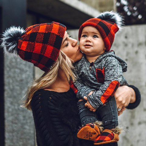Winter wool ball parent-child knitted hat Red plaid Christmas warm hat