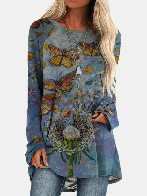 Large size Blue Crew Neck Cotton-Blend Long Sleeve Abstract Tops