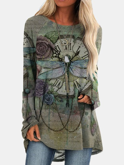 Large size Printed Long Sleeve Tops