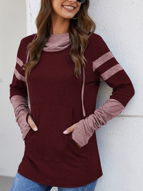 Wine Red Long Sleeve Shift Shirts & Tops