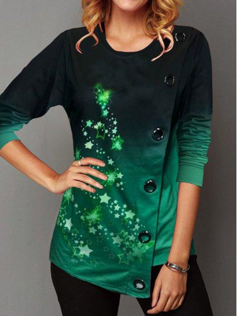 Christmas Star Green Asymmetrical Crew Neck Long Sleeve Shirts & Tops