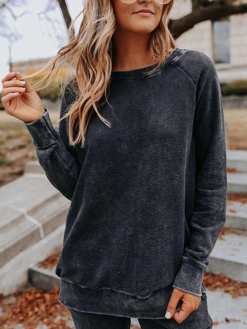 Gray Crew Neck Long Sleeve Sweatshirt