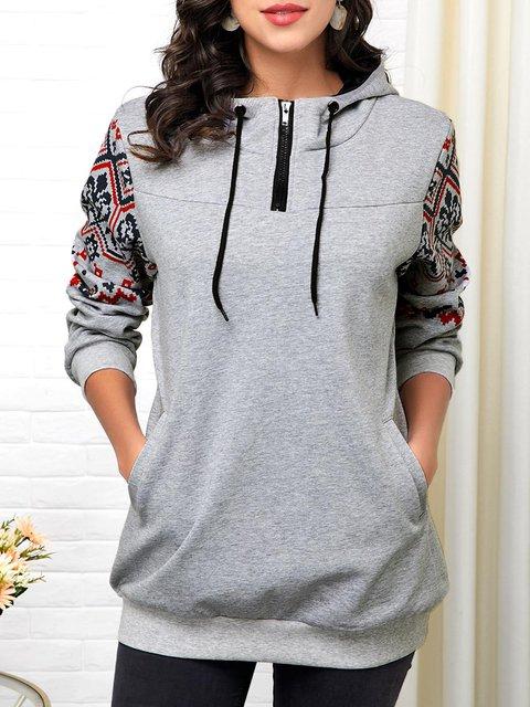 Gray Hoodie Shift Long Sleeve Sweatshirt