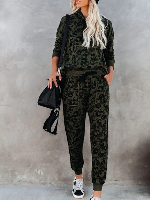Leopard Hoodie Shift Casual Suits