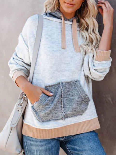 Gray Casual Shift Hoodie Shirts & Tops