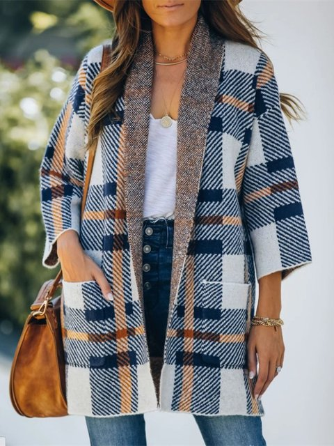 Checkered Shawl Collar Vintage Cardigan Outerwear