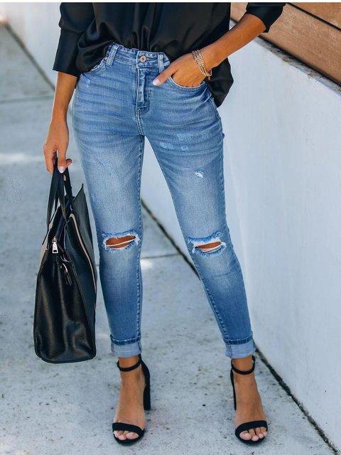 Light Blue Sheath Denim Casual Jeans