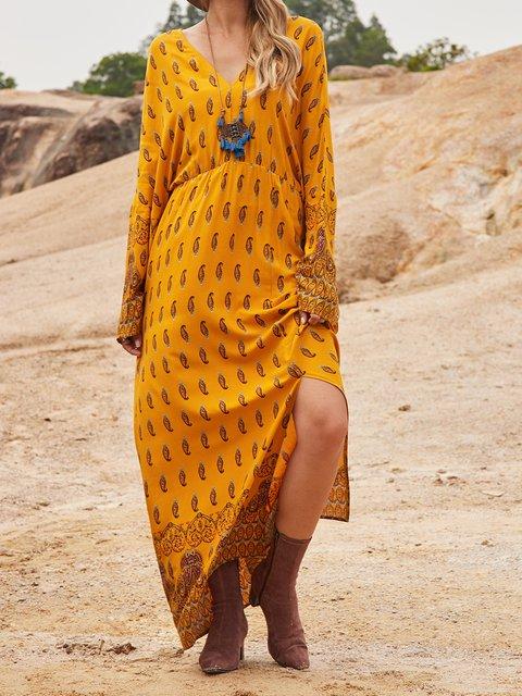 Yellow Cotton-Blend Paneled Boho V Neck Dresses