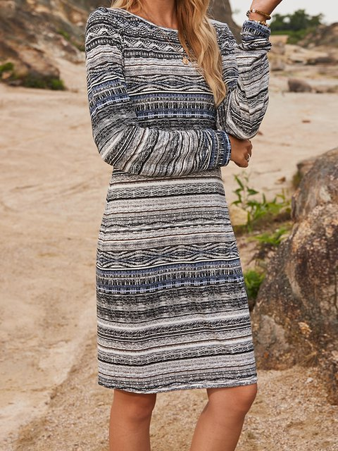 Gray Casual Crew Neck Cotton-Blend Paneled Dresses