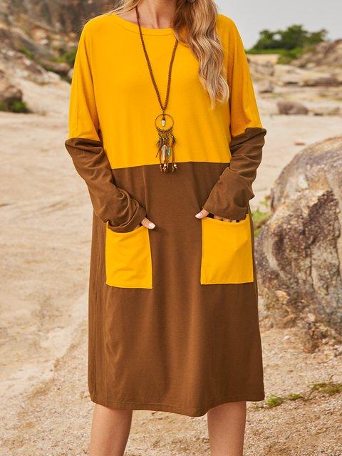 Brown Cotton-Blend Shift Long Sleeve Crew Neck Dresses