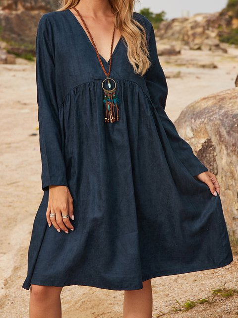 Blue Paneled Cotton-Blend Long Sleeve Plain Dresses