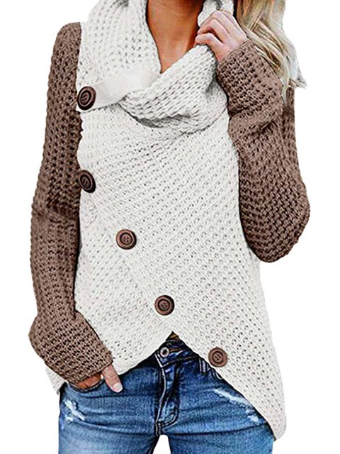 Plain Knitted Turtleneck Casual Sweater