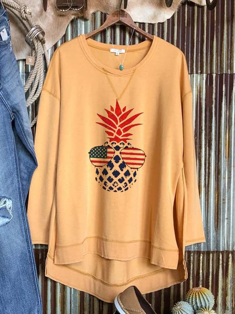 Knitted long-sleeved casual and comfortable printed top