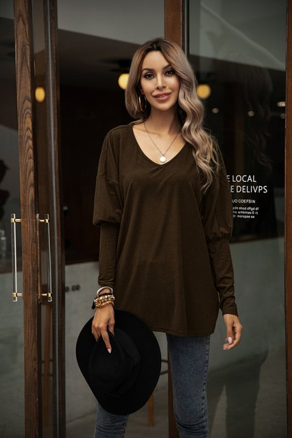 Light Khaki Shift Crew Neck Long Sleeve Plain Shirts & Tops