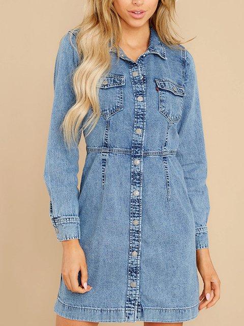 Slim Button Long Sleeve Denim Dress