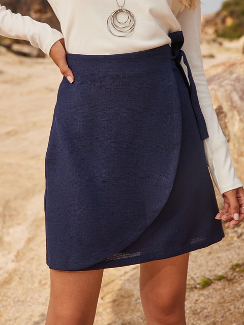 Blue Cotton-Blend Casual Paneled Skirts