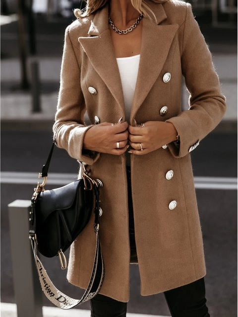 Long Sleeve Wool Blend Casual Coats Outerwear