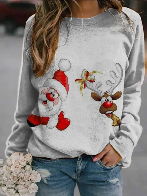 Long Sleeve Crew Neck Floral-Print Shirts & Tops
