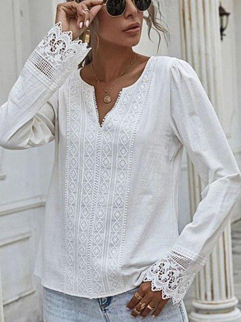 White Shift Casual V Neck Shirts & Tops