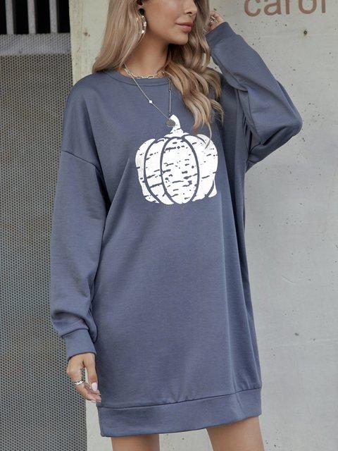 Halloween Pumpkin Gray Geometric Long Sleeve Boho Dresses
